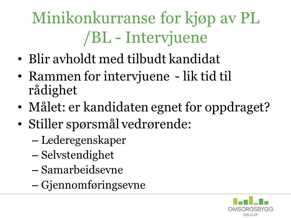 Minikonkurranse for kjøp av PL /BL - Intervjuene Blir avholdt med tilbudt kandidat Rammen for intervjuene - lik tid til rådighet Målet: er kandidaten egnet for oppdraget.