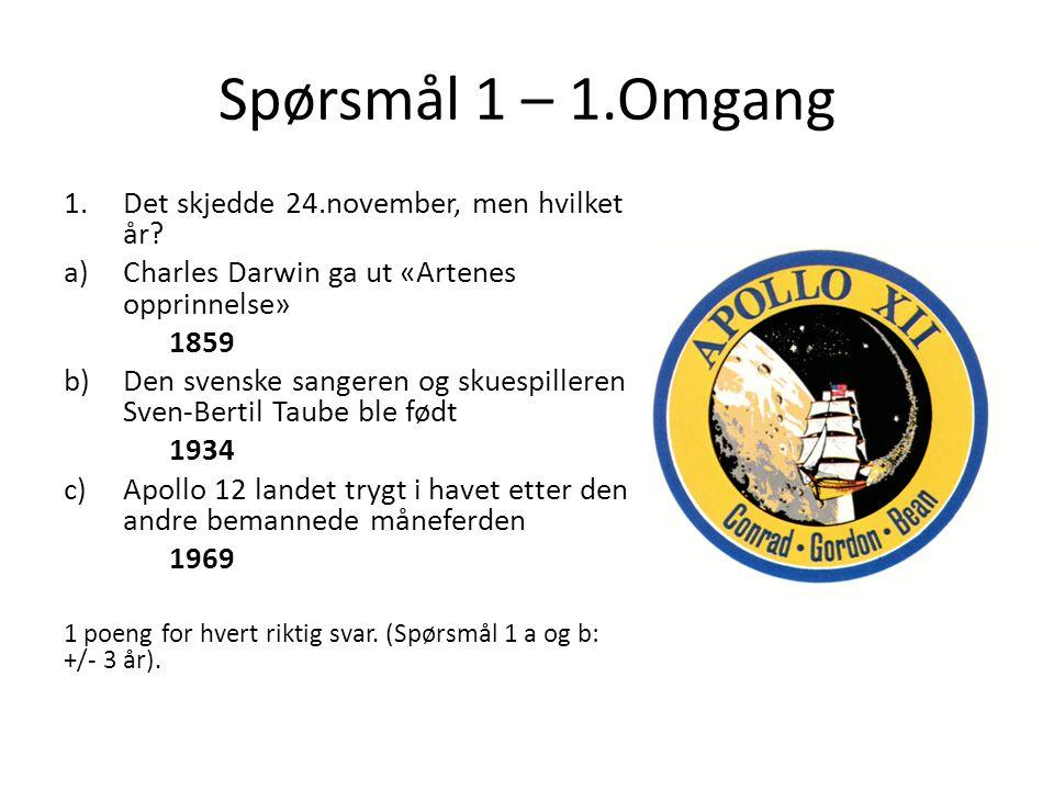Spørsmål 1 – 1.Omgang 1.Det skjedde 24.november, men hvilket år? a)Charles Darwin ga ut «Artenes opprinnelse» 1859 b)Den svenske sangeren og skuespill