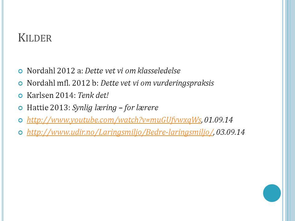 K ILDER Nordahl 2012 a: Dette vet vi om klasseledelse Nordahl mfl. 2012 b: Dette vet vi om vurderingspraksis Karlsen 2014: Tenk det! Hattie 2013: Synl