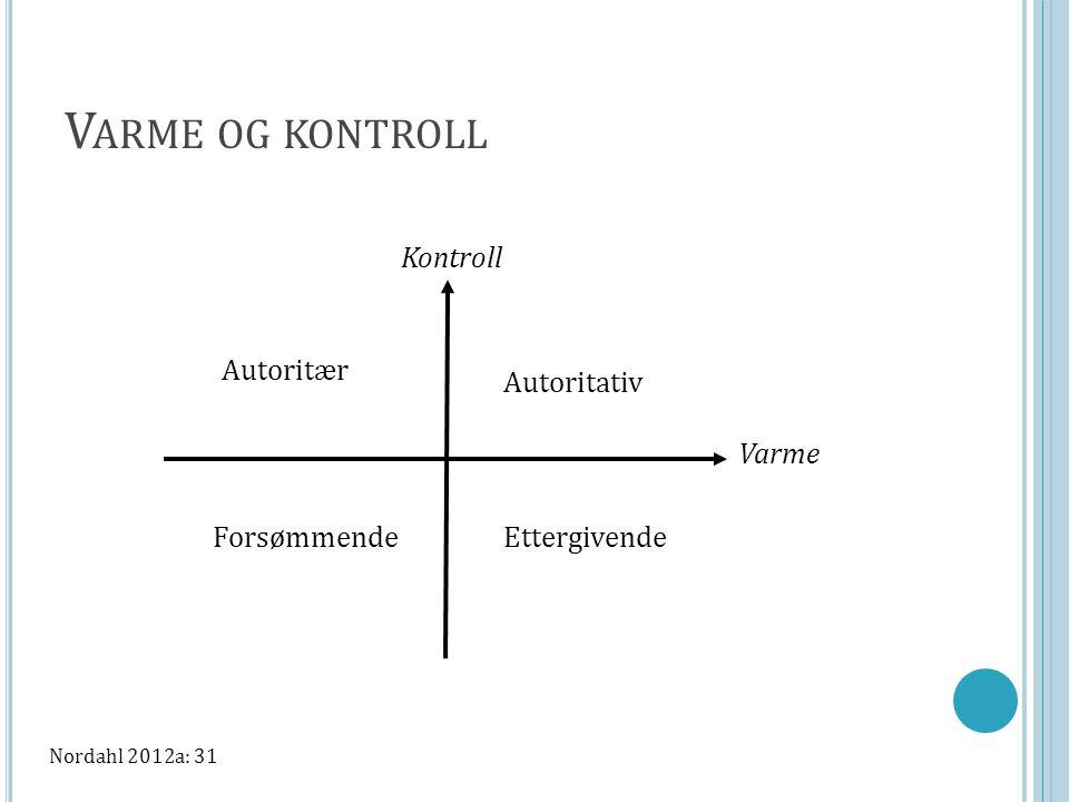 V ARME OG KONTROLL Kontroll Varme Autoritativ Autoritær ForsømmendeEttergivende Nordahl 2012a: 31