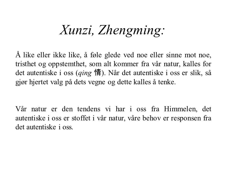 Xunzi, Zhengming: Å like eller ikke like, å føle glede ved noe eller sinne mot noe, tristhet og oppstemthet, som alt kommer fra vår natur, kalles for det autentiske i oss (qing 情 ).