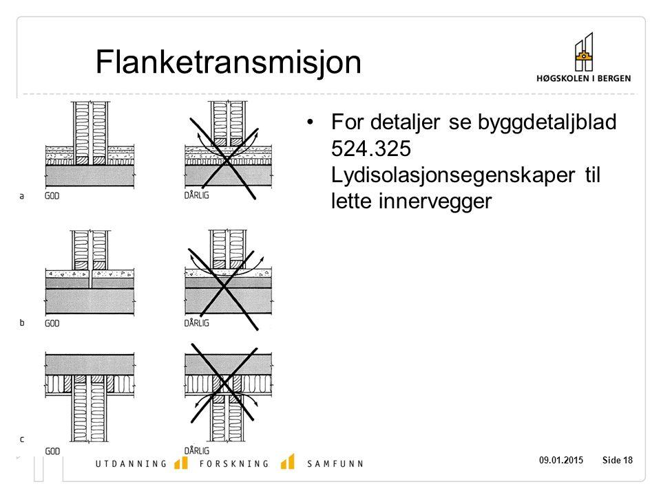 09.01.2015 Side 18 Flanketransmisjon For detaljer se byggdetaljblad 524.325 Lydisolasjonsegenskaper til lette innervegger