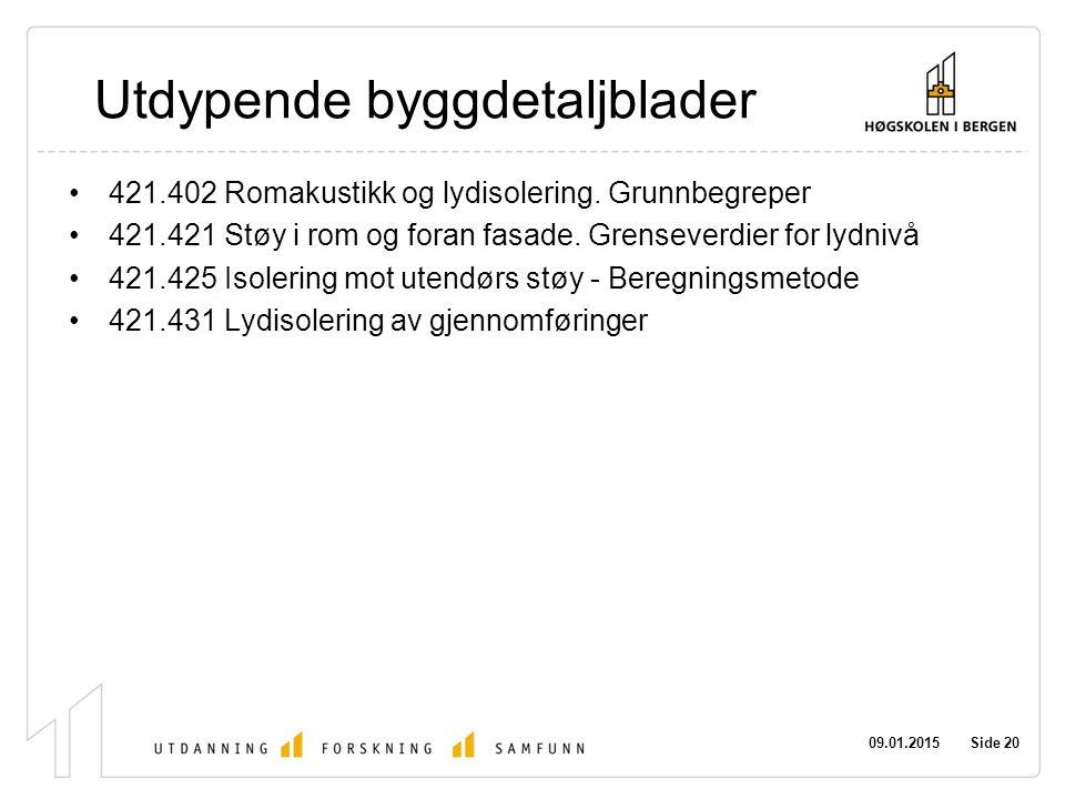 09.01.2015 Side 20 Utdypende byggdetaljblader 421.402 Romakustikk og lydisolering. Grunnbegreper 421.421 Støy i rom og foran fasade. Grenseverdier for