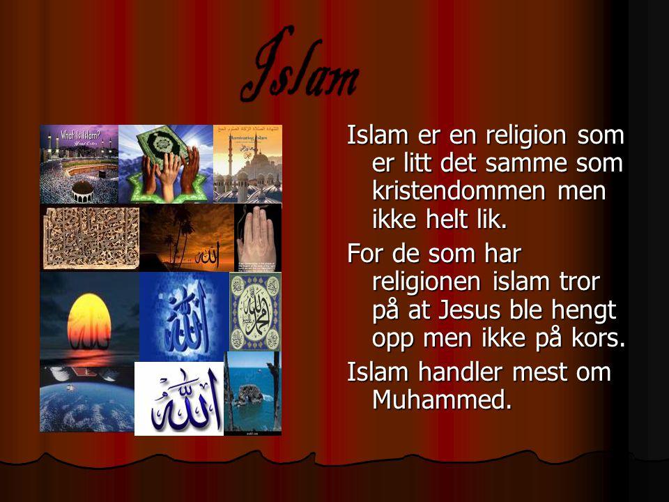 Islam er en religion som er litt det samme som kristendommen men ikke helt lik. For de som har religionen islam tror på at Jesus ble hengt opp men ikk