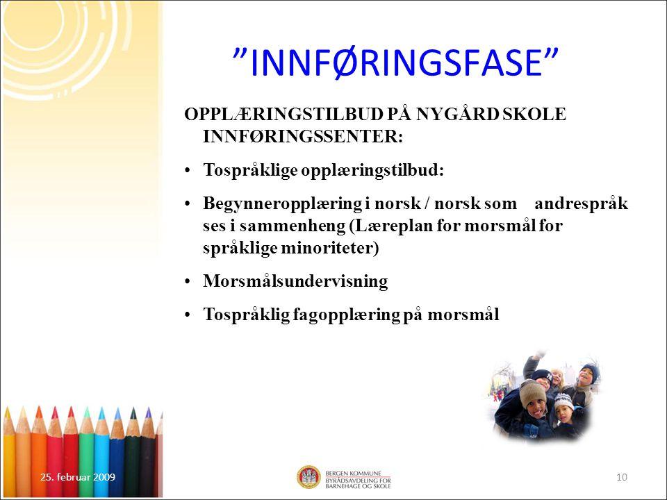 """25. februar 200910 """"INNFØRINGSFASE"""" OPPLÆRINGSTILBUD PÅ NYGÅRD SKOLE INNFØRINGSSENTER: Tospråklige opplæringstilbud: Begynneropplæring i norsk / norsk"""