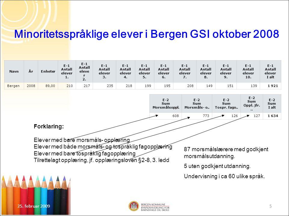25. februar 20095 Minoritetsspråklige elever i Bergen GSI oktober 2008 NavnÅrEnheter E-1 Antall elever 1. E-1 Antall eleve r 2. E-1 Antall elever 3. E