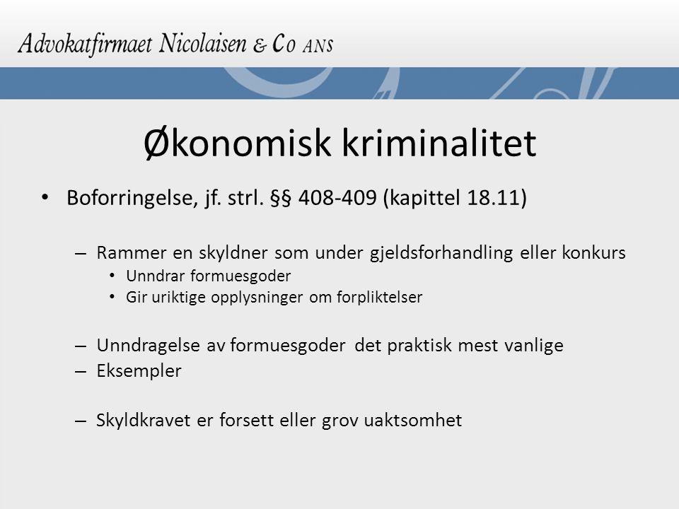 Økonomisk kriminalitet Boforringelse, jf.strl.