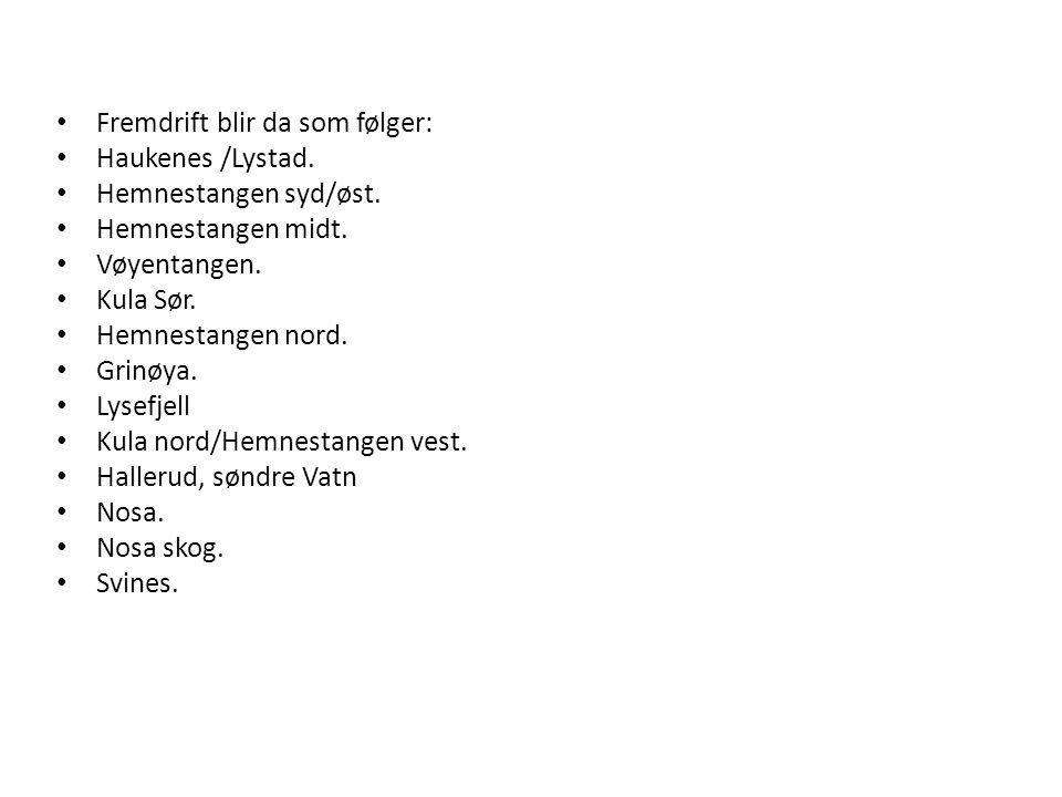 Fremdrift blir da som følger: Haukenes /Lystad. Hemnestangen syd/øst.