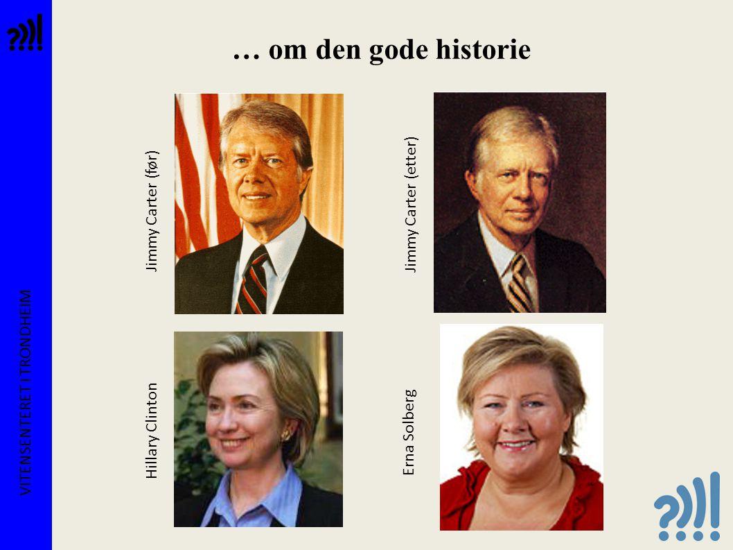 … om den gode historie VITENSENTERET I TRONDHEIM Jimmy Carter (før) Jimmy Carter (etter) Hillary Clinton Erna Solberg