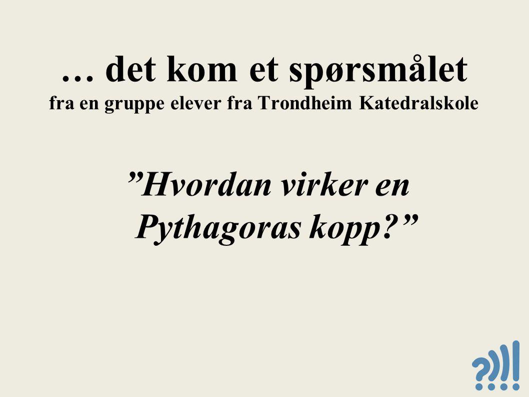 … det kom et spørsmålet fra en gruppe elever fra Trondheim Katedralskole Hvordan virker en Pythagoras kopp?