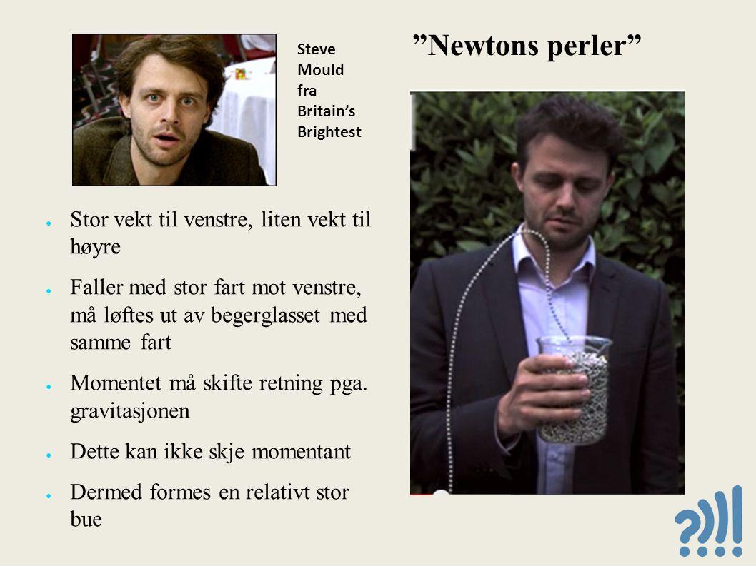 Newtons perler ● Stor vekt til venstre, liten vekt til høyre ● Faller med stor fart mot venstre, må løftes ut av begerglasset med samme fart ● Momentet må skifte retning pga.