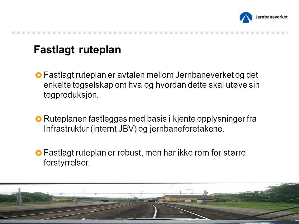 Fastlagt ruteplan Fastlagt ruteplan er avtalen mellom Jernbaneverket og det enkelte togselskap om hva og hvordan dette skal utøve sin togproduksjon.