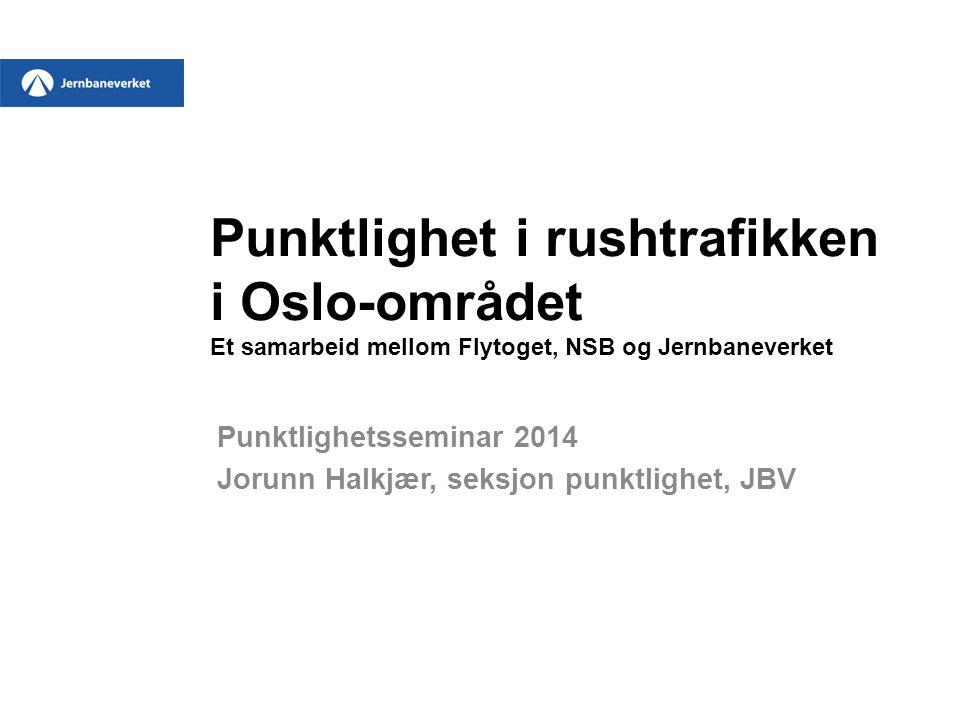 Punktlighet i rushtrafikken i Oslo-området Et samarbeid mellom Flytoget, NSB og Jernbaneverket Punktlighetsseminar 2014 Jorunn Halkjær, seksjon punktlighet, JBV