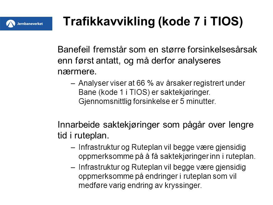 Trafikkavvikling (kode 7 i TIOS) Banefeil fremstår som en større forsinkelsesårsak enn først antatt, og må derfor analyseres nærmere. –Analyser viser