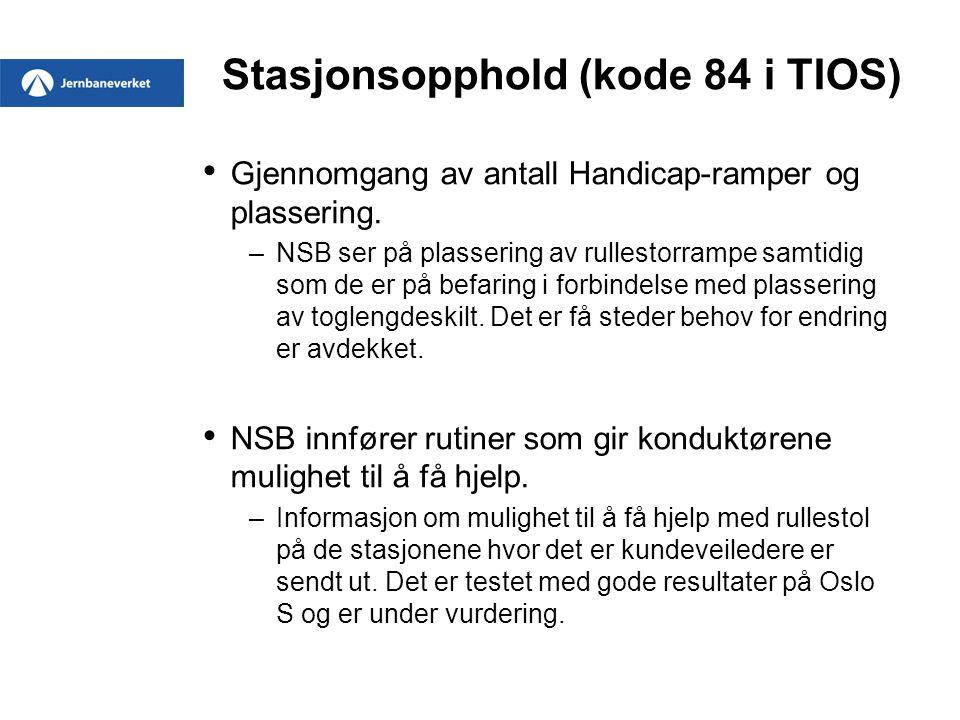 Stasjonsopphold (kode 84 i TIOS) Gjennomgang av antall Handicap-ramper og plassering. –NSB ser på plassering av rullestorrampe samtidig som de er på b