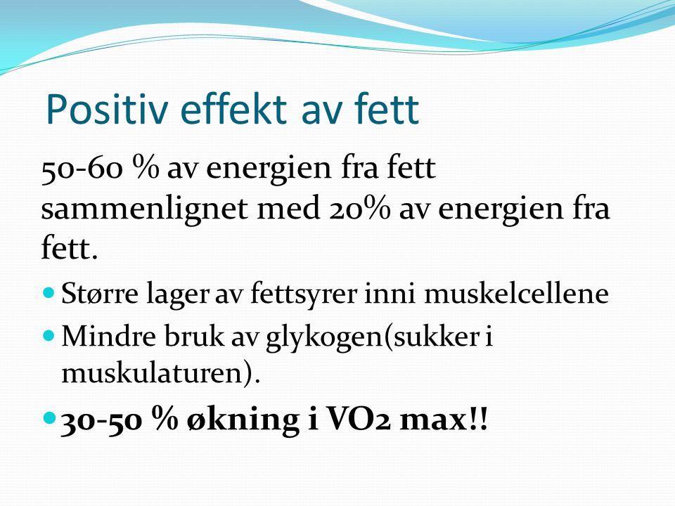 Positiv effekt av fett 50-60 % av energien fra fett sammenlignet med 20% av energien fra fett. Større lager av fettsyrer inni muskelcellene Mindre bru