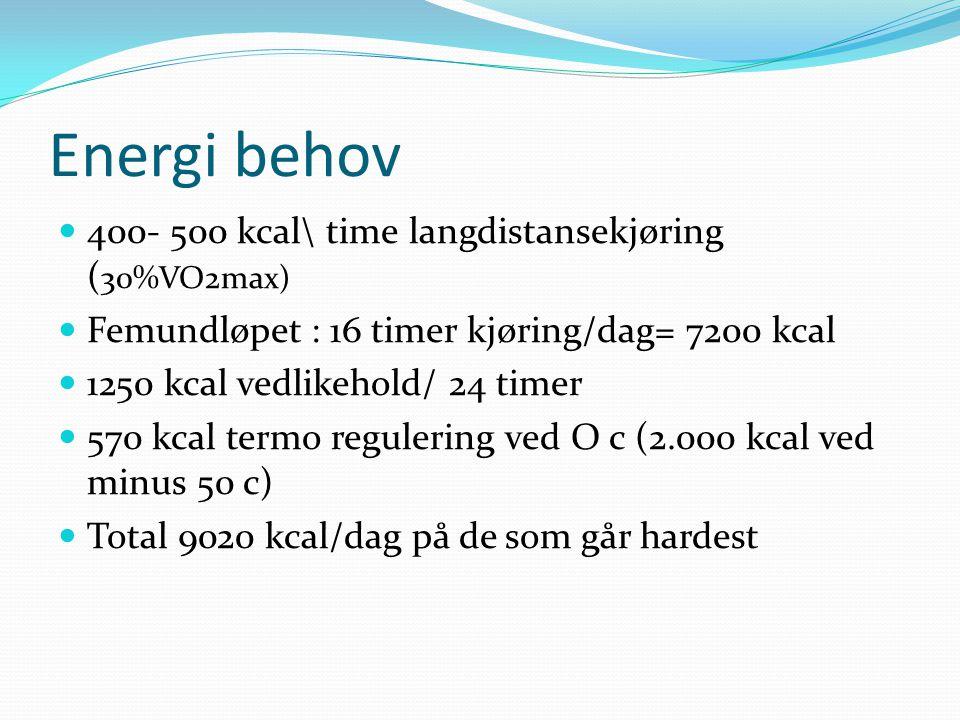 Energi behov 400- 500 kcal\ time langdistansekjøring ( 30%VO2max) Femundløpet : 16 timer kjøring/dag= 7200 kcal 1250 kcal vedlikehold/ 24 timer 570 kc
