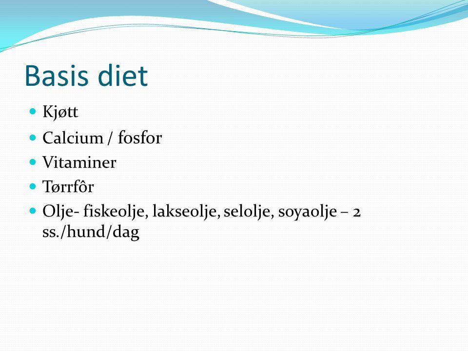 Basis diet Kjøtt Calcium / fosfor Vitaminer Tørrfôr Olje- fiskeolje, lakseolje, selolje, soyaolje – 2 ss./hund/dag