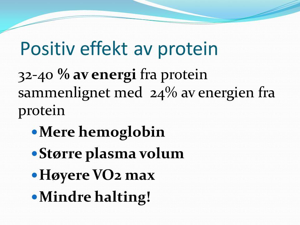 Positiv effekt av protein 32-40 % av energi fra protein sammenlignet med 24% av energien fra protein Mere hemoglobin Større plasma volum Høyere VO2 max Mindre halting!
