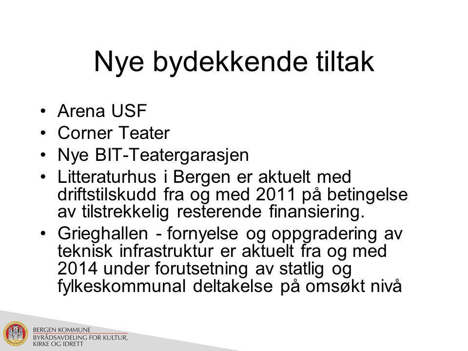 Nye bydekkende tiltak Arena USF Corner Teater Nye BIT-Teatergarasjen Litteraturhus i Bergen er aktuelt med driftstilskudd fra og med 2011 på betingelse av tilstrekkelig resterende finansiering.