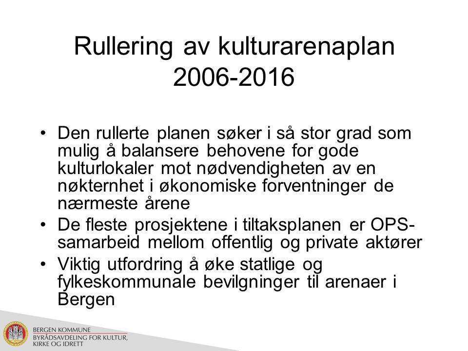 Rullering av kulturarenaplan 2006-2016 Den rullerte planen søker i så stor grad som mulig å balansere behovene for gode kulturlokaler mot nødvendigheten av en nøkternhet i økonomiske forventninger de nærmeste årene De fleste prosjektene i tiltaksplanen er OPS- samarbeid mellom offentlig og private aktører Viktig utfordring å øke statlige og fylkeskommunale bevilgninger til arenaer i Bergen