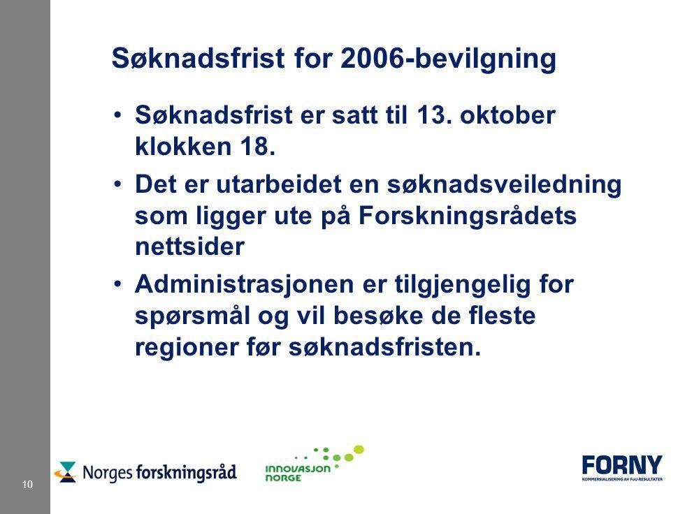 10 Søknadsfrist for 2006-bevilgning Søknadsfrist er satt til 13. oktober klokken 18. Det er utarbeidet en søknadsveiledning som ligger ute på Forsknin