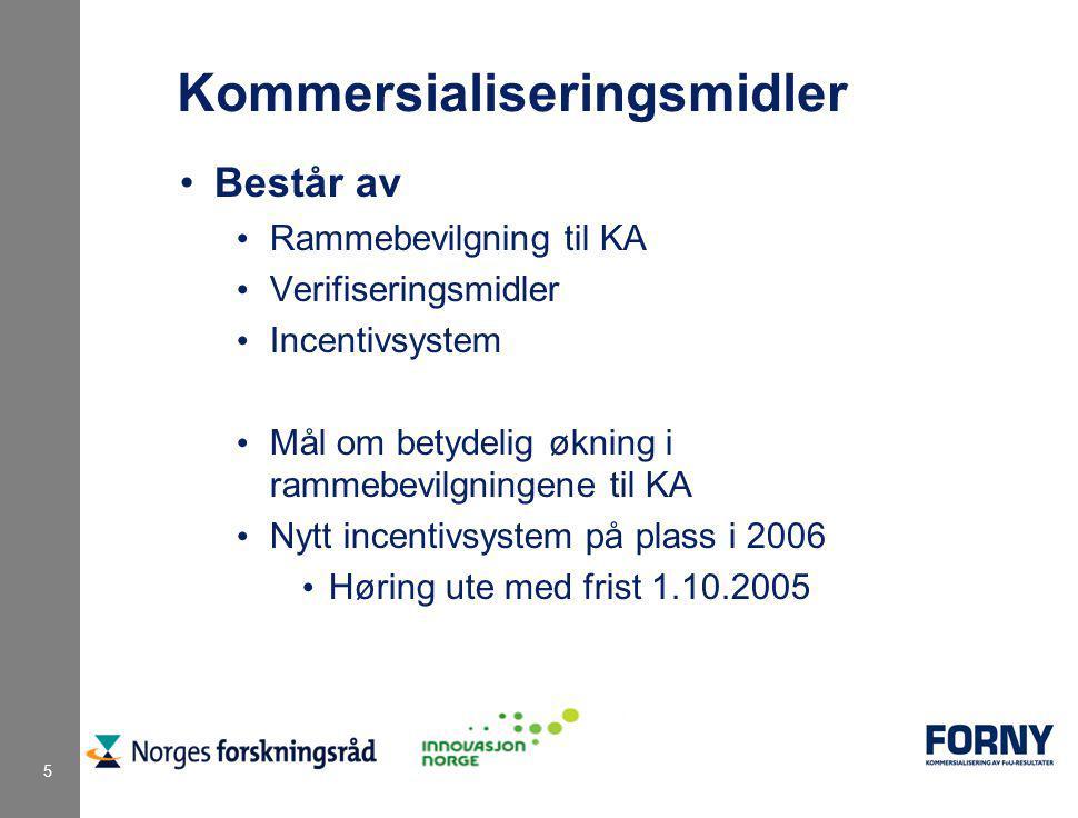 5 Kommersialiseringsmidler Består av Rammebevilgning til KA Verifiseringsmidler Incentivsystem Mål om betydelig økning i rammebevilgningene til KA Nytt incentivsystem på plass i 2006 Høring ute med frist 1.10.2005