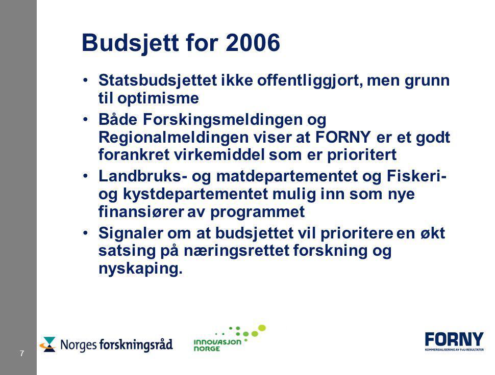 7 Budsjett for 2006 Statsbudsjettet ikke offentliggjort, men grunn til optimisme Både Forskingsmeldingen og Regionalmeldingen viser at FORNY er et god