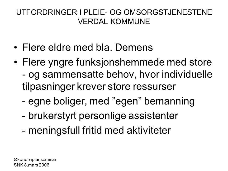 Økonomiplanseminar SNK 8.mars 2006 UTFORDRINGER I PLEIE- OG OMSORGSTJENESTENE VERDAL KOMMUNE Flere eldre med bla.