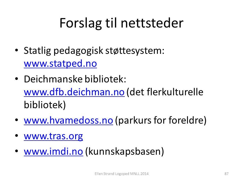 Forslag til nettsteder Statlig pedagogisk støttesystem: www.statped.no www.statped.no Deichmanske bibliotek: www.dfb.deichman.no (det flerkulturelle b