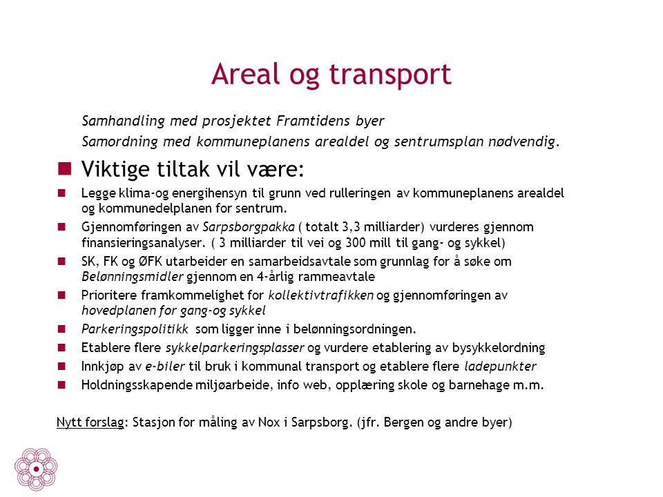 Areal og transport Samhandling med prosjektet Framtidens byer Samordning med kommuneplanens arealdel og sentrumsplan nødvendig. Viktige tiltak vil vær