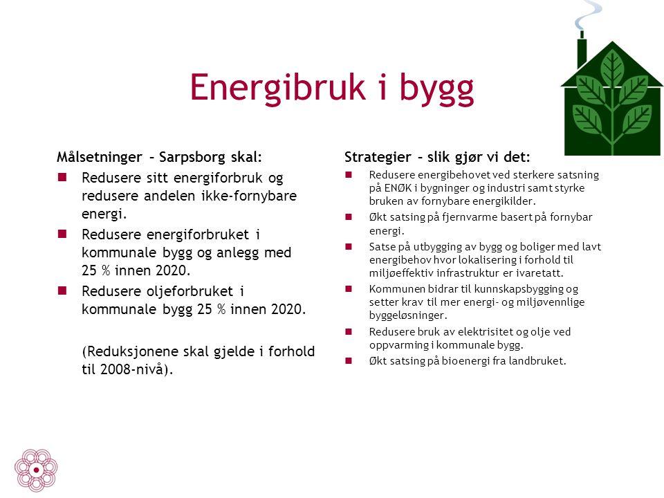 Energibruk i bygg Målsetninger – Sarpsborg skal: Redusere sitt energiforbruk og redusere andelen ikke-fornybare energi. Redusere energiforbruket i kom