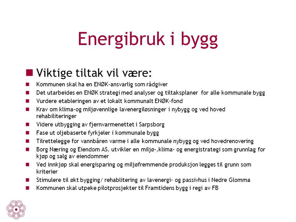 Energibruk i bygg Viktige tiltak vil være: Kommunen skal ha en ENØK-ansvarlig som rådgiver Det utarbeides en ENØK strategi med analyser og tiltaksplan