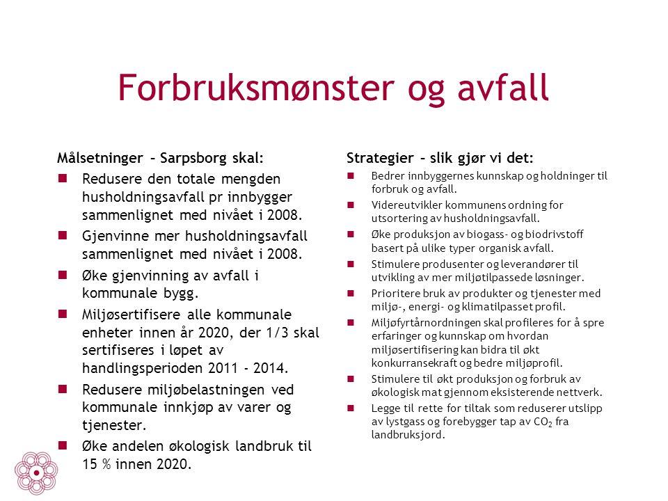 Forbruksmønster og avfall Målsetninger – Sarpsborg skal: Redusere den totale mengden husholdningsavfall pr innbygger sammenlignet med nivået i 2008. G