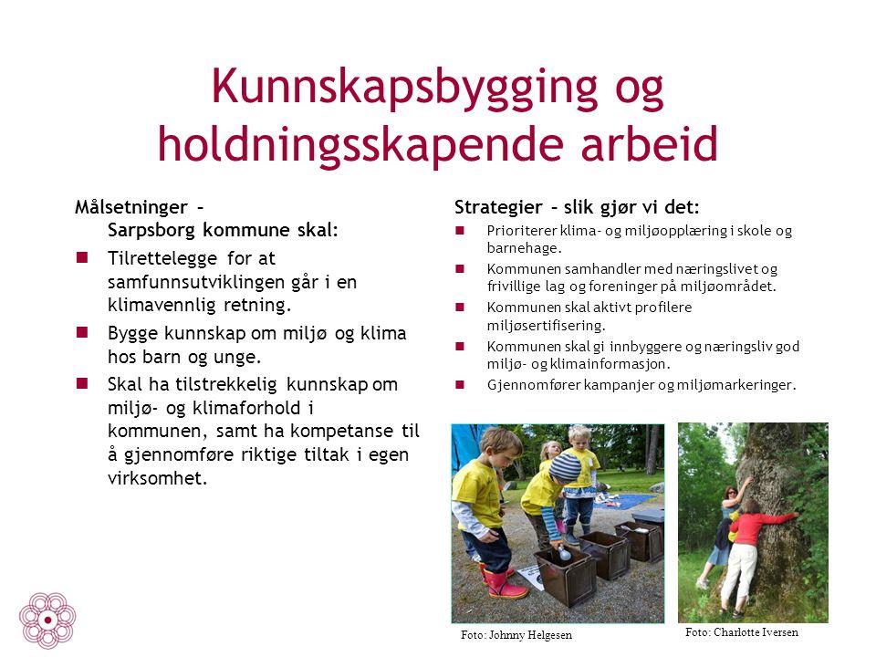 Kunnskapsbygging og holdningsskapende arbeid Målsetninger – Sarpsborg kommune skal: Tilrettelegge for at samfunnsutviklingen går i en klimavennlig ret