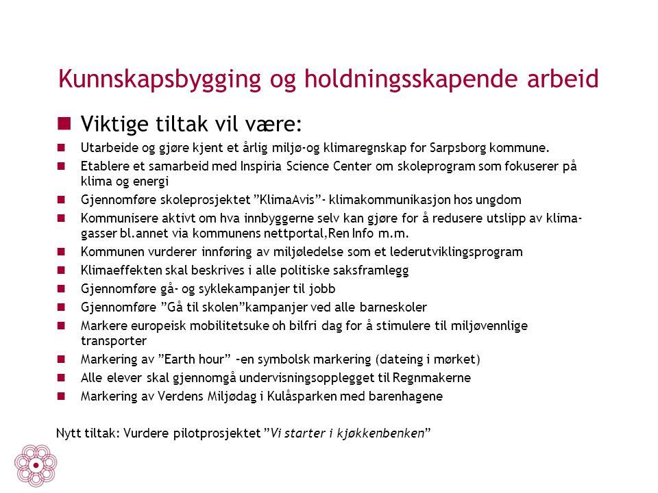 Kunnskapsbygging og holdningsskapende arbeid Viktige tiltak vil være: Utarbeide og gjøre kjent et årlig miljø-og klimaregnskap for Sarpsborg kommune.