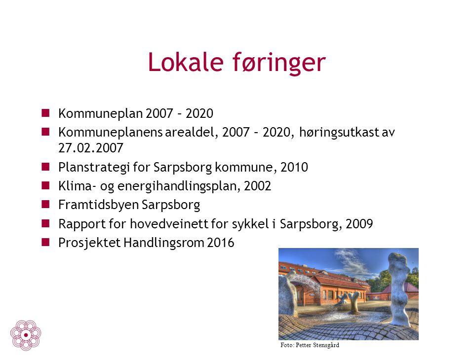 Lokale føringer Kommuneplan 2007 – 2020 Kommuneplanens arealdel, 2007 – 2020, høringsutkast av 27.02.2007 Planstrategi for Sarpsborg kommune, 2010 Kli