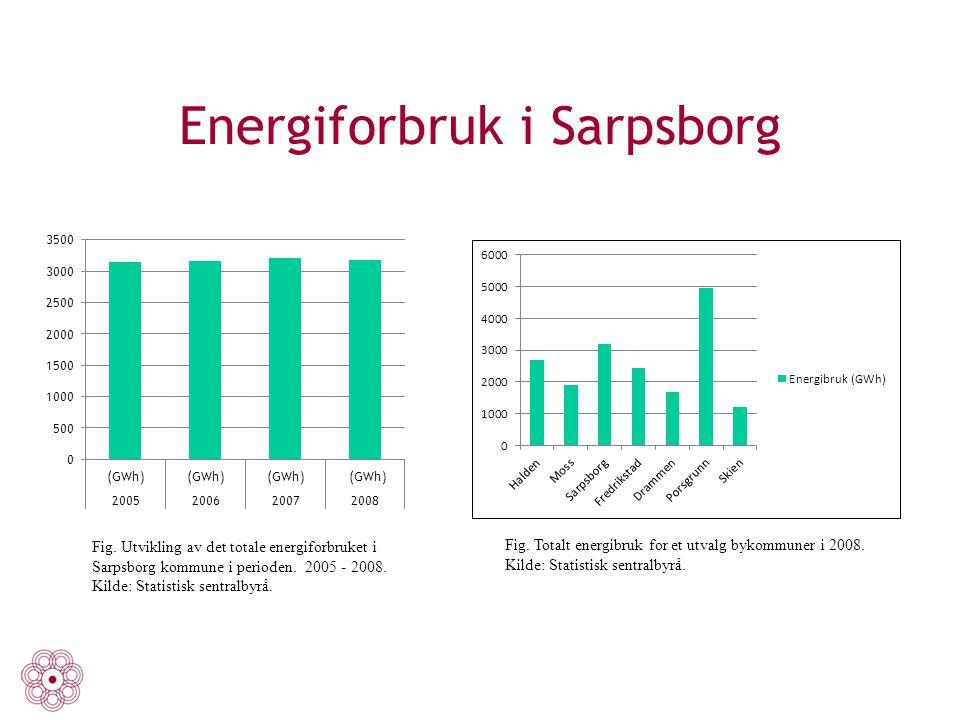 Energiforbruk i Sarpsborg Fig. Utvikling av det totale energiforbruket i Sarpsborg kommune i perioden. 2005 - 2008. Kilde: Statistisk sentralbyrå. Fig