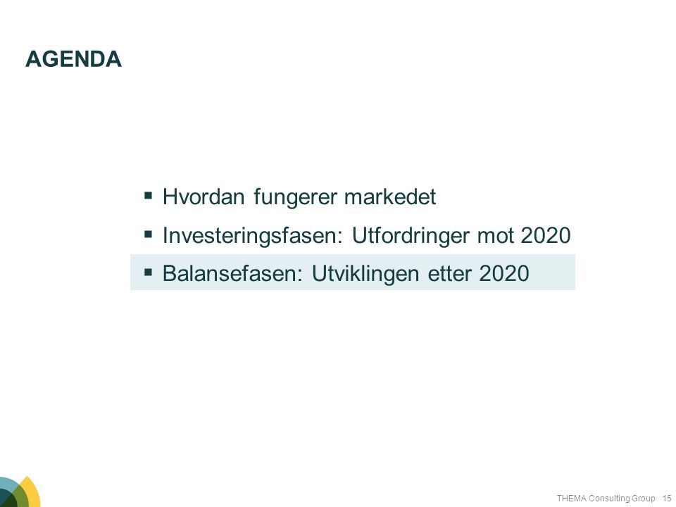 15THEMA Consulting Group  Hvordan fungerer markedet  Investeringsfasen: Utfordringer mot 2020  Balansefasen: Utviklingen etter 2020 AGENDA