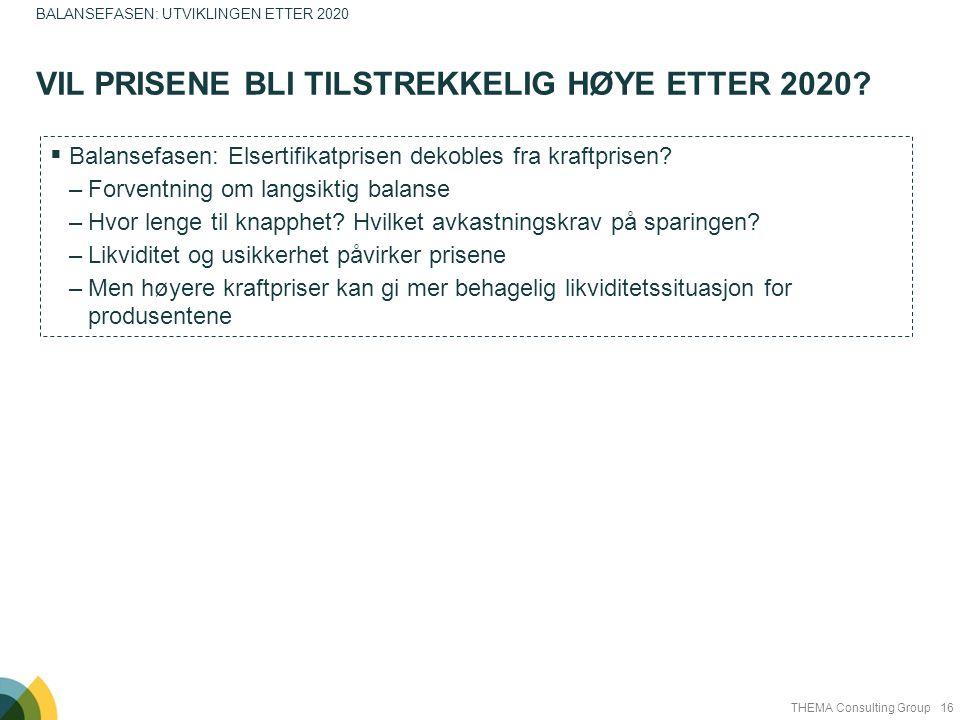 16THEMA Consulting Group VIL PRISENE BLI TILSTREKKELIG HØYE ETTER 2020? BALANSEFASEN: UTVIKLINGEN ETTER 2020  Balansefasen: Elsertifikatprisen dekobl