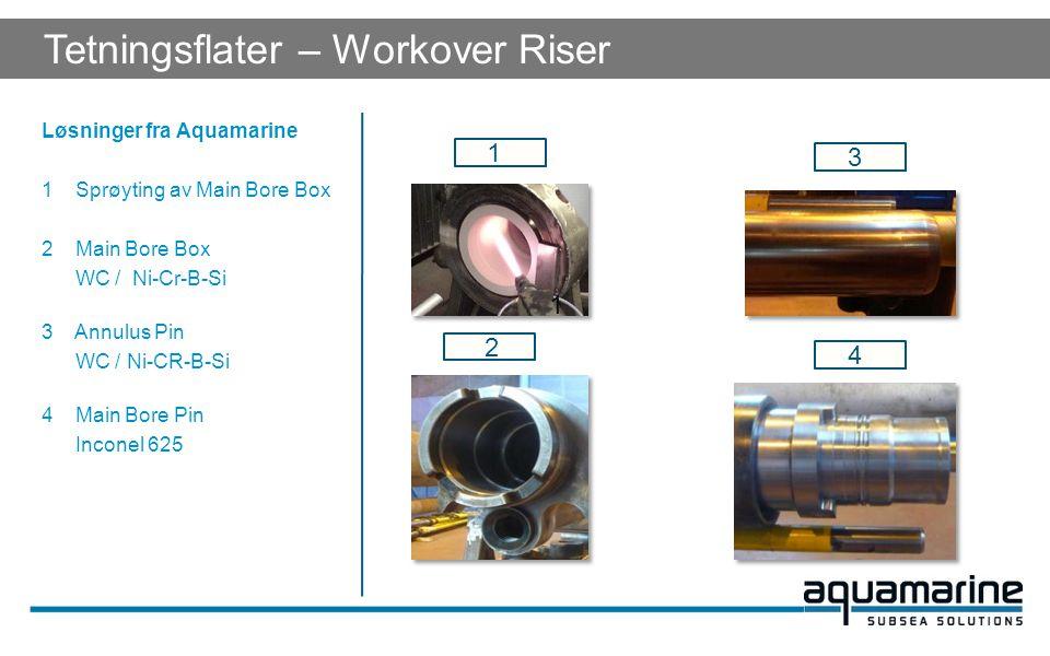 Løsninger fra Aquamarine 1 Sprøyting av Main Bore Box 2 Main Bore Box WC / Ni-Cr-B-Si 3 Annulus Pin WC / Ni-CR-B-Si 4 Main Bore Pin Inconel 625 1 1 3 4 2 Tetningsflater – Workover Riser