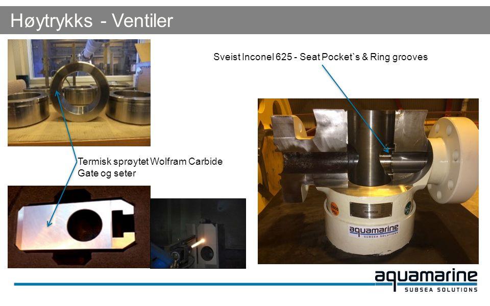 Høytrykks - Ventiler Sveist Inconel 625 - Seat Pocket`s & Ring grooves Termisk sprøytet Wolfram Carbide Gate og seter