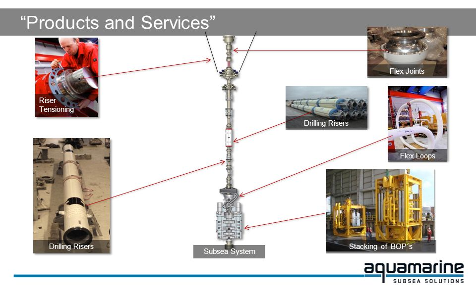 Products and Services Riser Tensioning Flex Joints Drilling Risers Flex Loops Subsea System Stacking of BOP´s