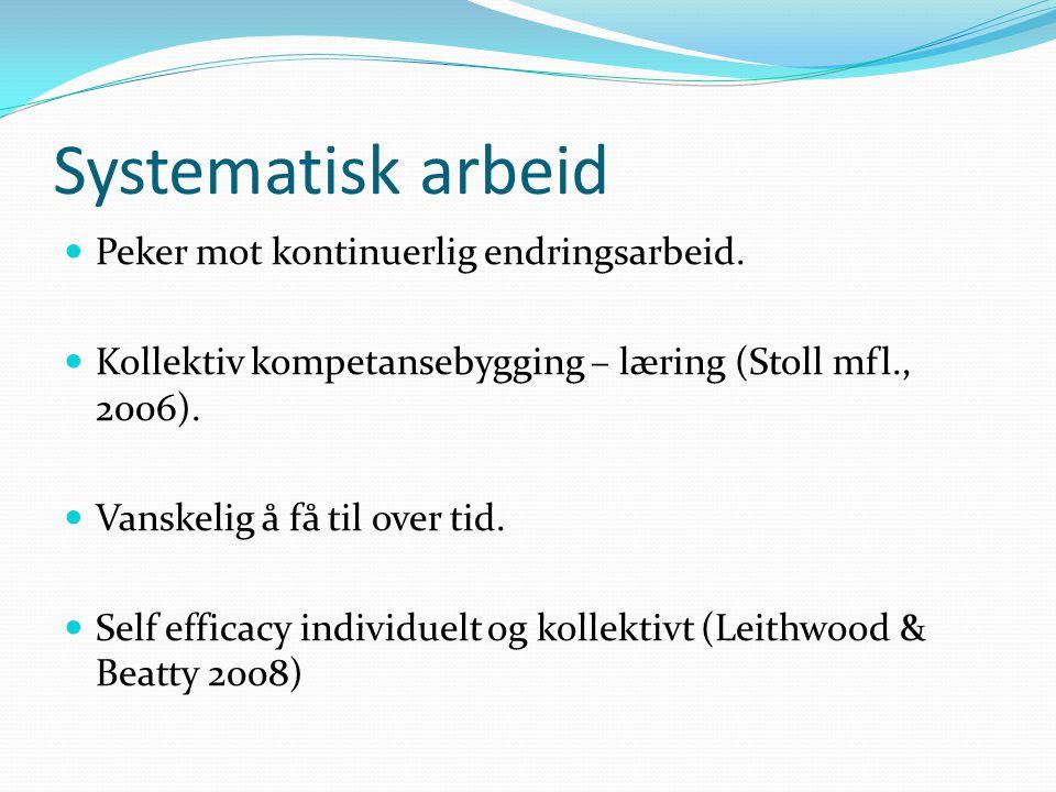 Systematisk arbeid Peker mot kontinuerlig endringsarbeid. Kollektiv kompetansebygging – læring (Stoll mfl., 2006). Vanskelig å få til over tid. Self e