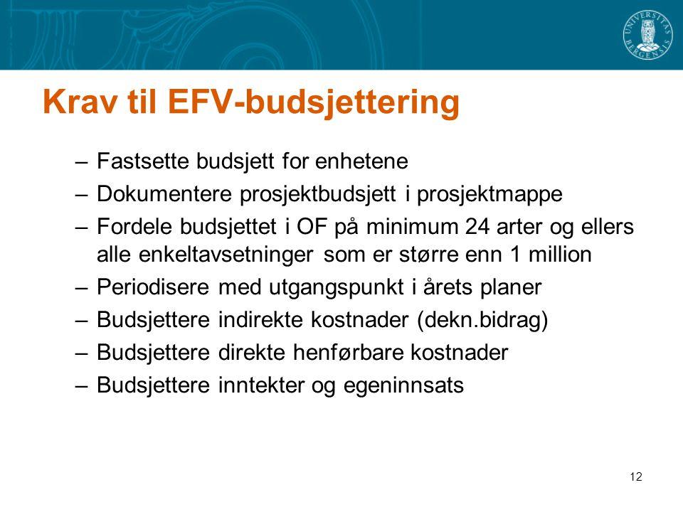 12 Krav til EFV-budsjettering –Fastsette budsjett for enhetene –Dokumentere prosjektbudsjett i prosjektmappe –Fordele budsjettet i OF på minimum 24 ar