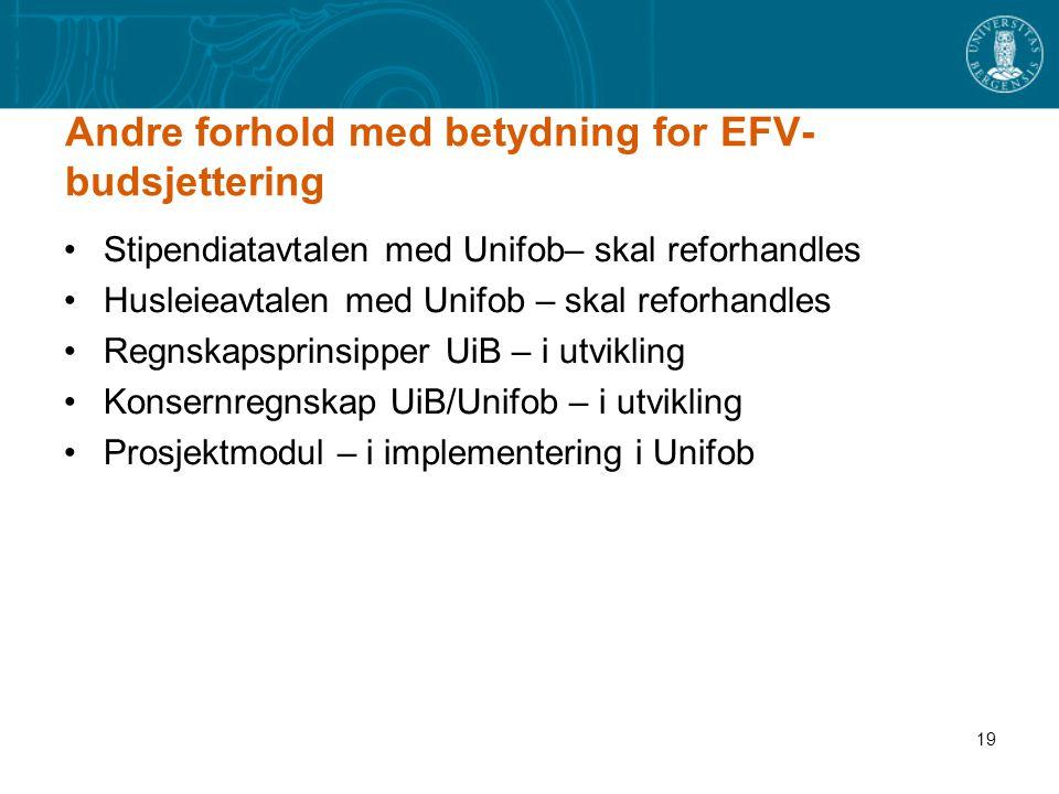 19 Andre forhold med betydning for EFV- budsjettering Stipendiatavtalen med Unifob– skal reforhandles Husleieavtalen med Unifob – skal reforhandles Re