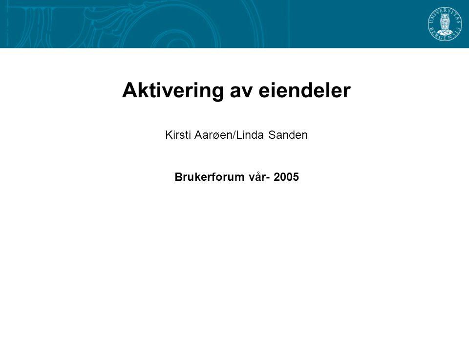 Aktivering av eiendeler Kirsti Aarøen/Linda Sanden Brukerforum vår- 2005