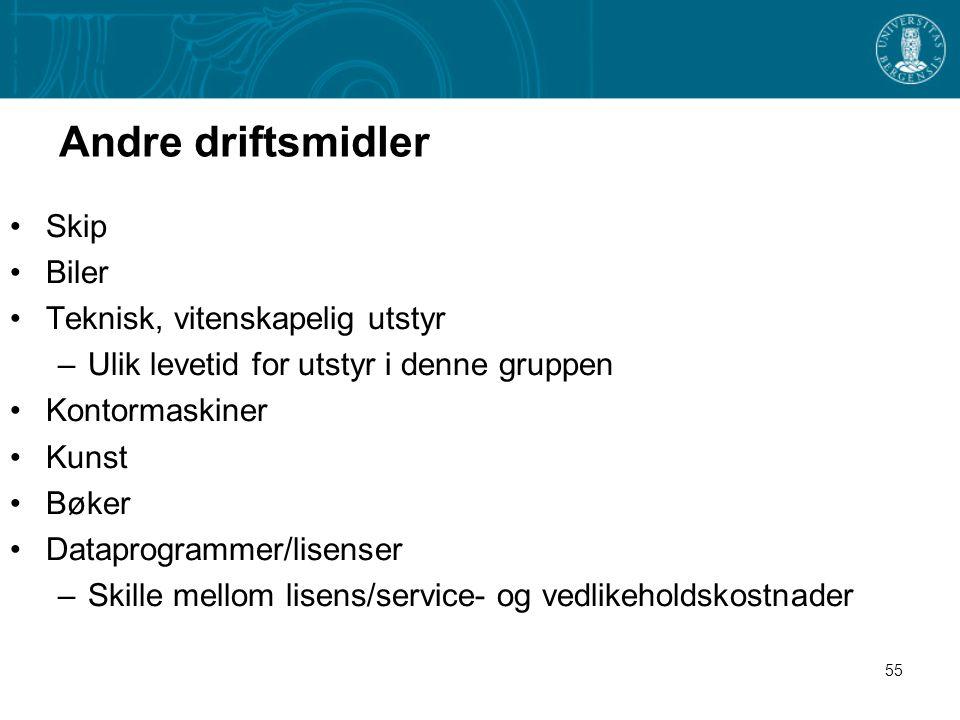 55 Andre driftsmidler Skip Biler Teknisk, vitenskapelig utstyr –Ulik levetid for utstyr i denne gruppen Kontormaskiner Kunst Bøker Dataprogrammer/lise