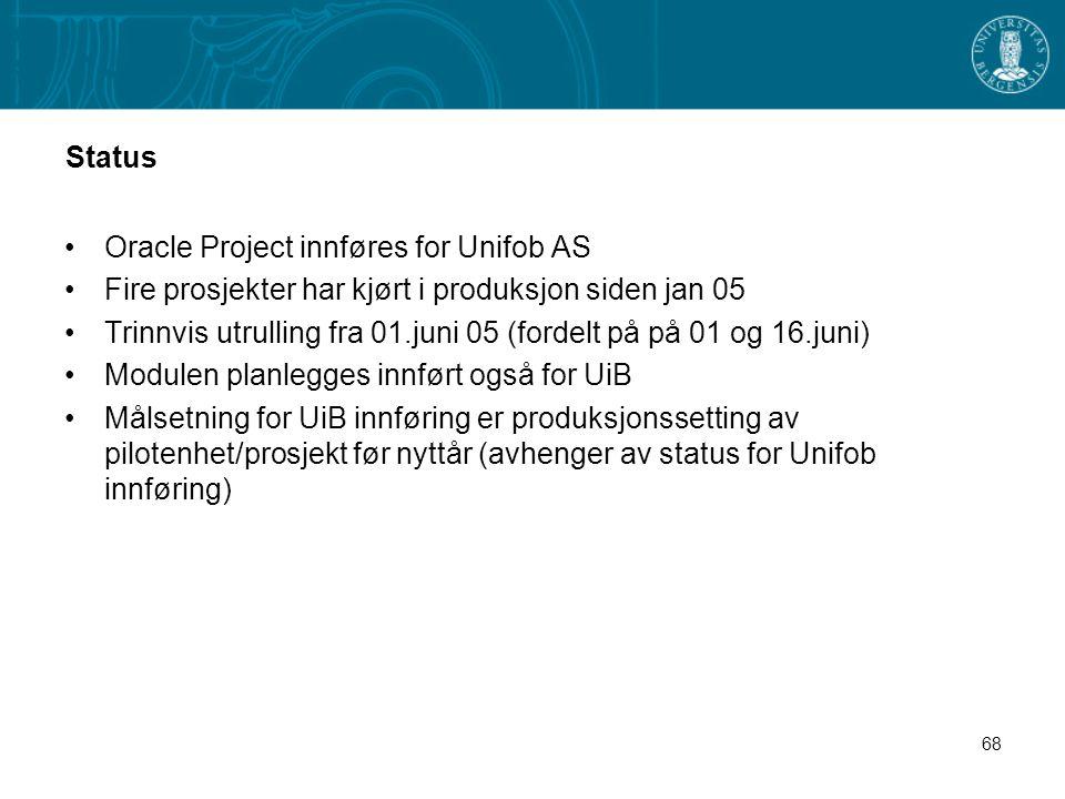 68 Status Oracle Project innføres for Unifob AS Fire prosjekter har kjørt i produksjon siden jan 05 Trinnvis utrulling fra 01.juni 05 (fordelt på på 0
