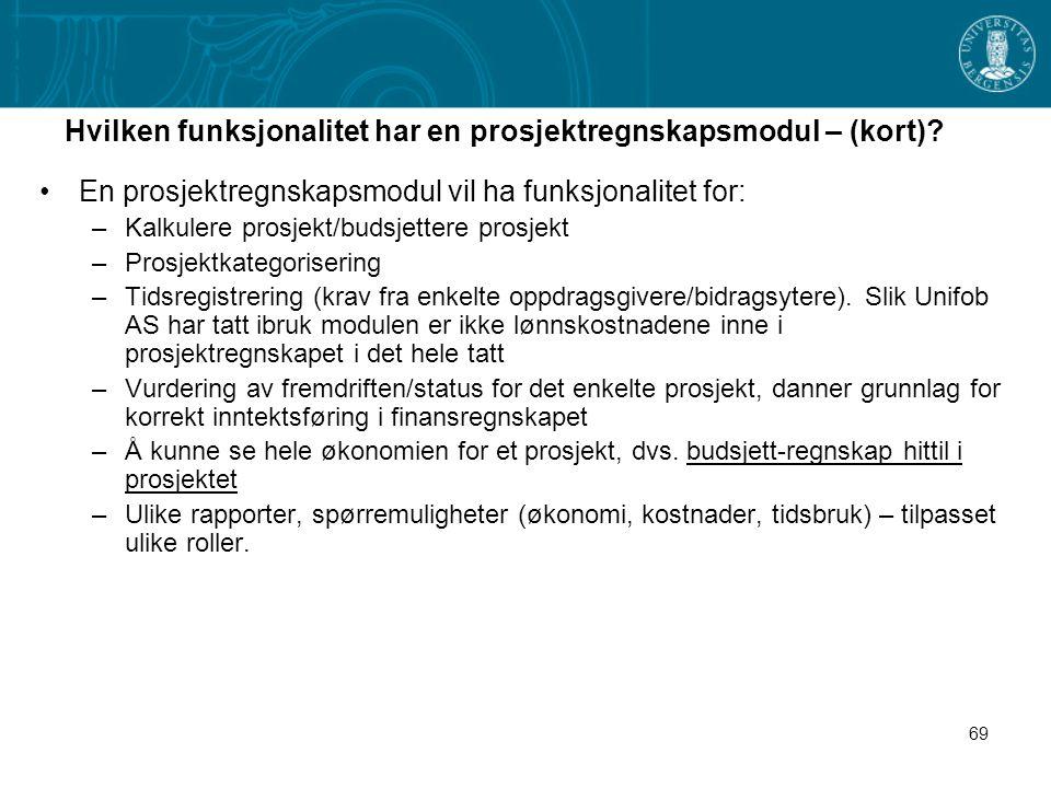 69 Hvilken funksjonalitet har en prosjektregnskapsmodul – (kort)? En prosjektregnskapsmodul vil ha funksjonalitet for: –Kalkulere prosjekt/budsjettere